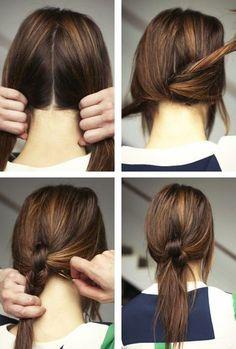 ゴムを使わず髪をねじるように束ねた簡単アレンジです。