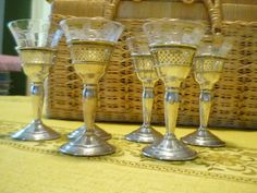 Set of 8 silver and crystal cordial goblets by by AuntBettysCloset, $285.00