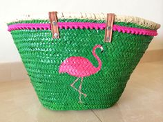 Pink  green flamingo. Hand painted