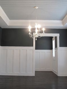 Simple and Stylish Tips: Wainscoting Basement Foyers wainscoting office man cave.Wainscoting Exterior Beach Homes wainscoting stairs home.Types Of Wainscoting Subway Tiles. Room Remodeling, Coffered Ceiling, Dining Room Wainscoting, Interior, Millwork Wall, Home Decor, House Interior, Wainscoting Panels, Wainscoting Styles
