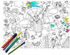 Sets de table en papier pour goûter d'anniversaire à colorier- Kidstore Bianca and Family