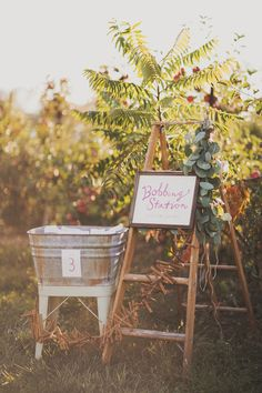 bobbing station // photo by Nessa K, styling by Sarah Park Events // http://ruffledblog.com/apple-orchard-wedding-inspiration