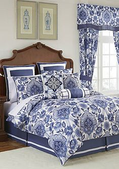 Shop for Croscill Leland Blue Damask 4 Piece Comforter Set. Get free delivery On EVERYTHING* Overstock - Your Online Fashion Bedding Store! Blue Comforter Sets, Bedding Sets, Croscill Bedding, Beige Bed Linen, Bed Styling, White Pillows, Linen Pillows, Bedding Collections, Luxury Bedding