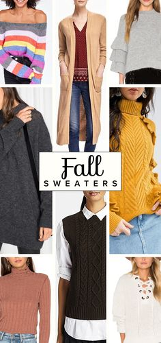 These are must have sweaters for falls. Oversized, turtleneck, shells, stripes and cardigans are just a few of the sweater trends.