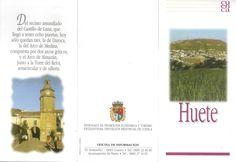 Folleto turístico de Huete, Cuenca, con lugares de interés y plano. Patronato de Desarrollo Provincial de Cuenca, 1997. #Cuenca #Huete #Turismo