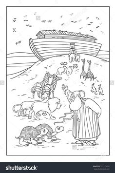 Noah invites animals to enter the ark - Tekno Hipercity Sunday School Coloring Pages, Preschool Coloring Pages, Preschool Bible, Bible Coloring Pages, Bible Activities, Sunday School Kids, Sunday School Activities, Sunday School Crafts, Sunday School Lessons