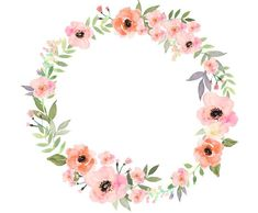 Ideas For Wall Paper Flowers Watercolor Clip Art Art Floral, Frame Floral, Floral Logo, Flower Frame, Flower Art, Flower Ideas, Vector Flowers, Flower Clipart, Watercolor Logo
