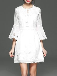 #AdoreWe #StyleWe Mini Dresses - Designer PHILIS White Frill Sleeve Embroidered Floral Party Dress - AdoreWe.com