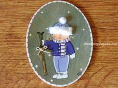 Placa infantil para puerta modelo niña con esquís