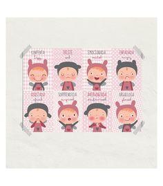 Lámina infantil Las emociones niñas para ayudar a tu hija a identificarlas a la venta en la tienda online de vinilos infantiles decorativos Decohappy.