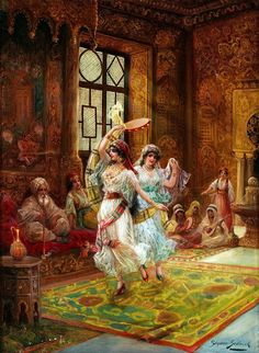 Harem interior with dancing women. Stephan Sedlacek Oil on canvas. Sedlacek was a history and genre painter, depicting aristocratic people in courtly environments as well as oriental. Dance Paintings, Old Paintings, Dance Oriental, Empire Ottoman, Arabian Art, Historical Art, Arabian Nights, Gustav Klimt, Dance Art