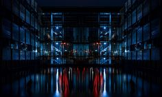 Building with water at night