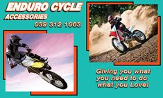 Get all you need for your next motorbike ride.  At Enduro Cycles we stock and supply a wide selection of riding gear, for all ages and genders, motorbike parts and accessories as well as nutritional supplements. Visit our website to view our full range of products, or give us a call for any more information.  Phone: 039 312 1063   Email: Info@EnduroCycles.co.za  www.Endurocycles.co.za  #EnduroCycles #Safety #Accessories #Parts #RidingGear #TopQuality #MotorBike #MotorBikeRiding #KeepClean… Motorbike Parts, Riding Gear, Nutritional Supplements, Motorbikes, Keep It Cleaner, Safety, Range, Website, Phone