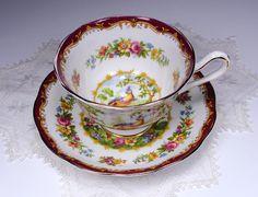 Royal Albert CHELSEA BIRD Tea Cup and Saucer by TeacupsAndOldLace