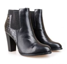 Botine negre cu toc gros si piele croco Booty, Shoes, Fashion, Moda, Swag, Zapatos, Shoes Outlet, Fashion Styles, Fasion
