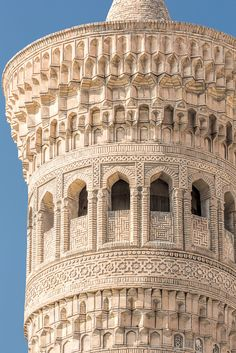 Kalyan minaret, Po-i-Kalyan mosque complex, Bukhara, Uzbekistan. Islamic Architecture, Classical Architecture, Historical Architecture, Beautiful Architecture, Beautiful Buildings, Art And Architecture, Architecture Details, 4k Photography, Beautiful Mosques