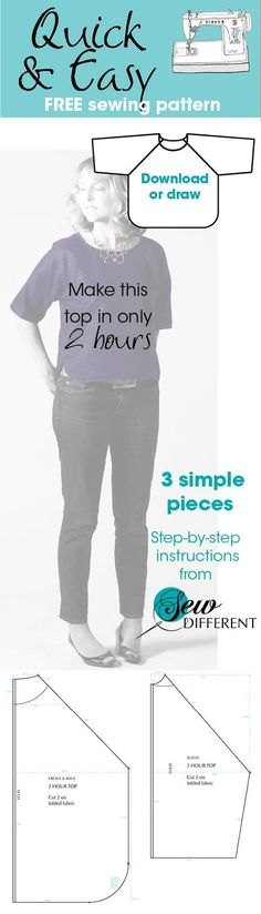 Free sewing pattern top for women. Make longer into tunic or dress?? Make with jersey knit and don't hem??
