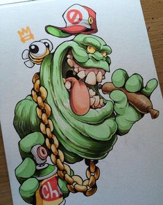 ... #cheo #slimer #ghostbusters #sketch #sausage