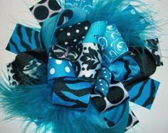 Hair bow, Hair bows, Hairbow-Funky Loopy Fabulously Fun Turquoise and Black Damask Boutique Hair Bow-Funky Fun-Over The Top Deluxe Hair Bow