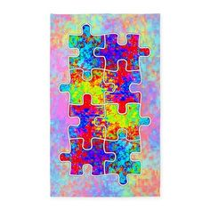 Autism Colorful Puzzle Pieces 3x5 Area Rug, from Jan4insight Designs on CafePress > SOLD an area rug, 10.21.15