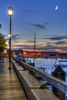 Crescent Moon over Newburyport Harbor by Joann Vitali Prints Available starting at $32.00 #Newburyport #Harbor #Massachusetts