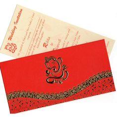 Red and Gold Ganesh Kankotri / Invitation Card.
