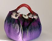 small felt purse handmade in france bella in purple, raspberry and pinks