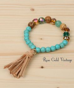 Beaded Stretch Bracelet with Tassel (Turquoise) – Rose Gold Vintage