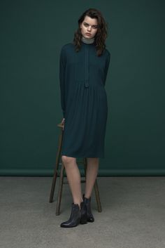The season hottest shirt dress with ruffled button up and beautiful silhouettes. For a cool minimalist look team it up with a basic turtleneck or roll neck.