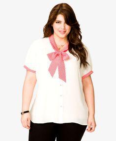 Polka Dot Tie-Neck Shirt | FOREVER21 PLUS - 2019571540