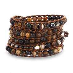 Sterling Silver Jewelry - Chen Rai Shades of Brown Agate Beaded Long Leather Wrap Bracelet
