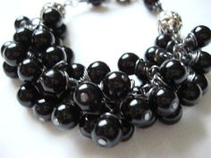 Black Pearl Gunmetal Wire Wrapped Cluster Bracelet by NickyeCole, $28.00