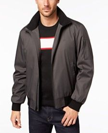 Tommy Hilfiger Mens Smooth Lamb Faux Leather Military Jacket