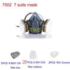 Máscara 7502 7 Trajes de Máscara De Gas Chemical Polvo De Pintura Filtro Del Respirador máscara Máscaras Media cara Máscara de Polvo Spray, Construcción/la minería