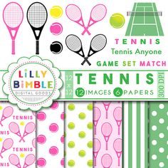 40% off Tennis Clipart pink raquet tennis anyone by LillyBimble