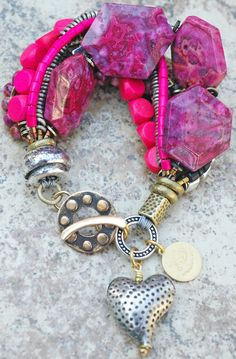 Custom Pink, Black and Silver Heart Charm Bracelet Click to buy