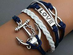 Infinity Bracelet Love Bracelet Anchor Bracelet Charm Bracelet Antique Silver Navy Wax Cords Adjustable Weave Bangle Personalized Jewelry on Etsy, $5.29