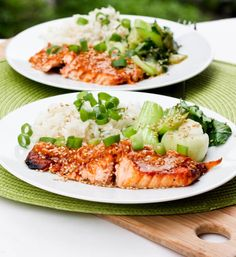 Broiled Salmon with Coconut Red Curry Sauce and Lime Scallion Rice - avocadopesto