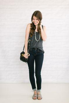 gray flowy tank top, dark skinny jeans, gladiator sandals, black bag