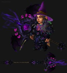 WoW Gnome Female Destruction Warlock Artifact Transmog. World of Warcraft Set Ideas