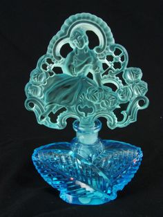 "chasingrainbowsforever: "" Art Deco Czech Perfume Bottle ~ Aqua Leaf Body, Ice…"