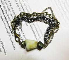 Pyrite and Aquamarine Bracelet by Beatniq on Etsy, $15.00