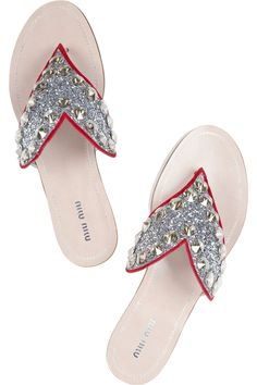 MIU MIU Crystal-embellished glitter-finished leather heart sandals
