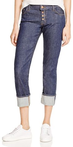 J Brand Cora Mid Rise Slim Cuffed Cropped Jeans in Daze