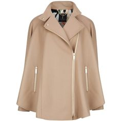 Ted Baker Zip Front Cape Coat, Taupe found on Polyvore