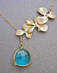 Ocean Blue Glass and Gold Orchid Flower Lariat Necklace in 14K Gold, Gold Flower Bridesmaids Necklace