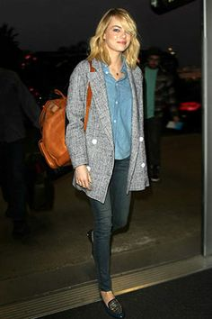 NICE JACKET LENGTH AND USE OF CHAMBRAY I love this look! I wouldn't have a backpack like that though.