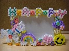 Rainbows and unicorns perler bead picture frame