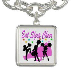 PINK MEGAPHONE CHEERLEADING DESIGN CHARM BRACELET Awesome selection of Cheerleading Jewelry. http://www.zazzle.com/mysportsstar/gifts?cg=196898030795976236&rf=238246180177746410 #Cheerleading #Cheerleader #Cheerleadergift #Lovecheerleading #Cheerleaderjewerly #Cheerleadingjewelry