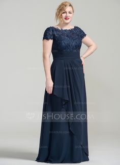 $162.48 in size 16 -WISH I FOUND THIS BEFORE I BOUGHT AN EXPENSIVE GOWN FOR MY DAUGHTER'S WEDDING! - AMES -Line/Princess Off-the-Shoulder Floor-Length Cascading Ruffles Zipper Up Cap Straps Sleeveless No Dark Navy Plus Chiffon Lace